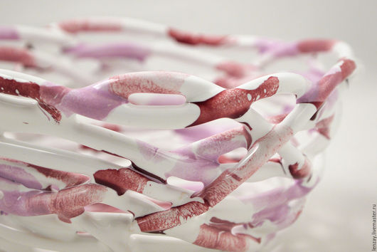 Конфетница `Молочные реки кисельные берега` 15 см. Плетеная керамика Елены Зайченко