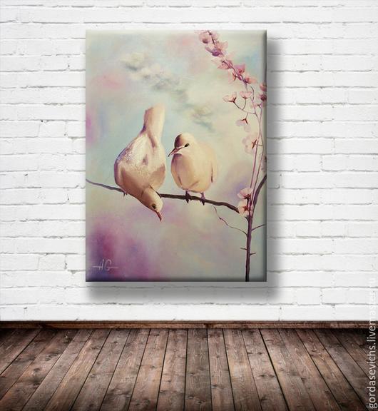 Символизм ручной работы. Ярмарка Мастеров - ручная работа. Купить Картина маслом Пара голубей... Авторская картина маслом.. Handmade.