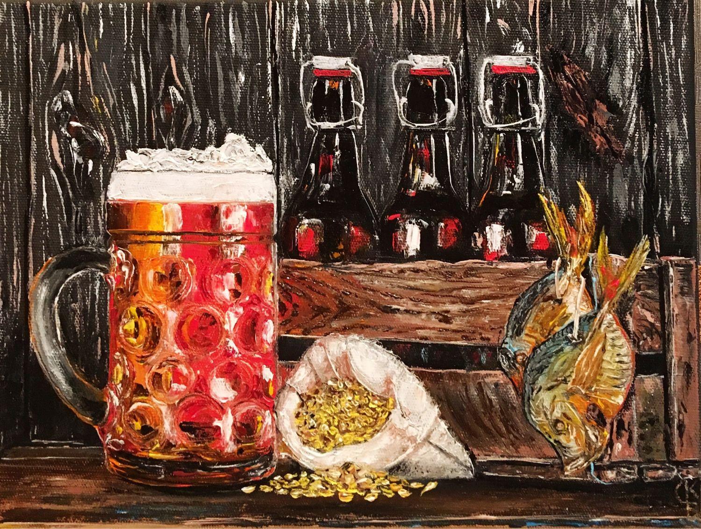 Натюрморт с пивом – купить на Ярмарке Мастеров – JG6UCRU | Картины,  Ростов-на-Дону