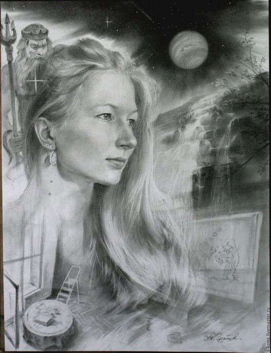 Люди, ручной работы. Ярмарка Мастеров - ручная работа. Купить Графический портрет соусом Аня. Handmade. Чёрно-белый, бумага