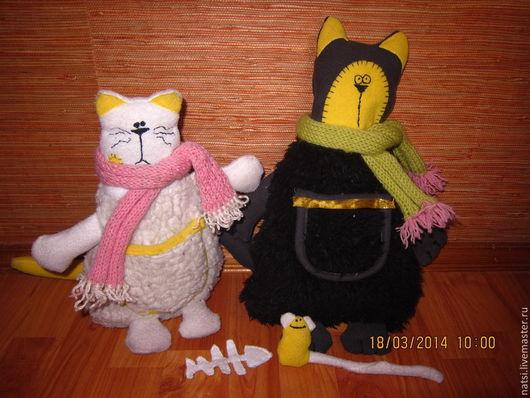 Игрушки животные, ручной работы. Ярмарка Мастеров - ручная работа. Купить Кот Батон и кошка Люся. Handmade. Игрушки для детей