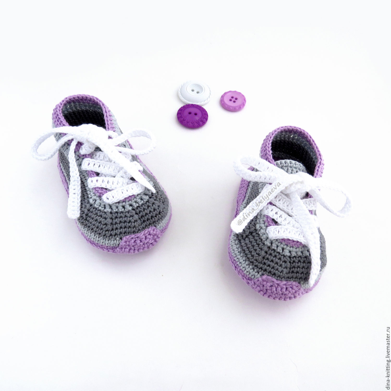 вязаные пинетки кроссовки пинетки кеды вязаные пинетки в ...