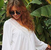 Одежда handmade. Livemaster - original item Summer tunic with lace. Handmade.