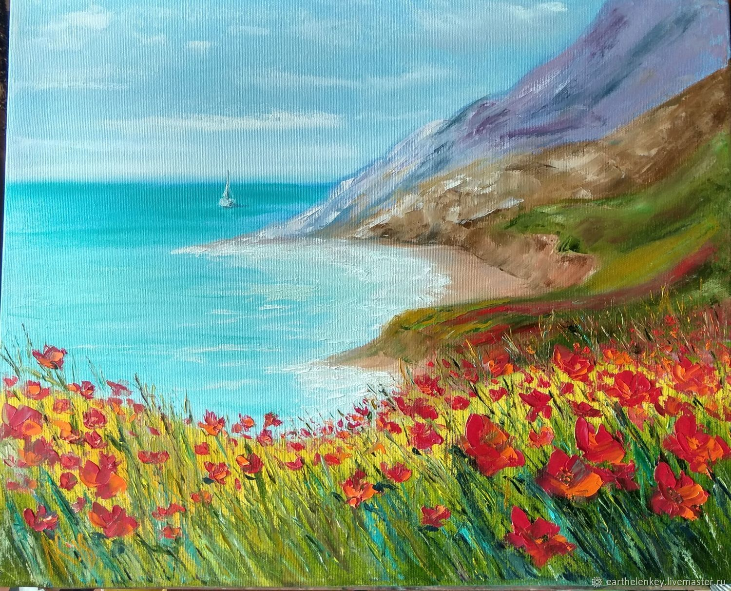 Maca and sea oil painting, Pictures, Belaya Kalitva,  Фото №1
