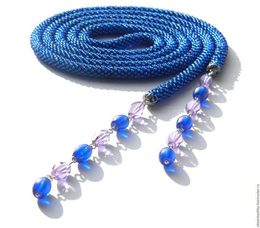 украшение ручной работы, синий, джинсовый стиль, лариат, лариат из бисера, офисная мода, лариат купить, купить лариат, купить бисерный лариат, купить синий лариат