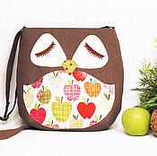 """Классическая сумка ручной работы. Ярмарка Мастеров - ручная работа Льняная сумка """"Яблочная сова"""". Handmade."""