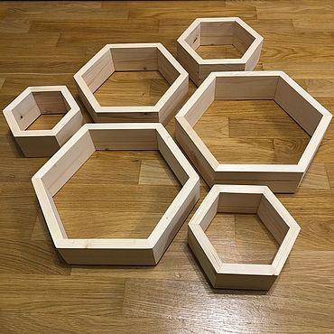 Мебель ручной работы. Ярмарка Мастеров - ручная работа Комплект полки соты 6 штук из дерева. Handmade.