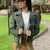 handmade. Livemaster - original item Nubuck Python Leather Jacket. Handmade.