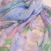Аксессуары ручной работы. Ярмарка Мастеров - ручная работа Шарф шелковый Акварельные цветы. Handmade.