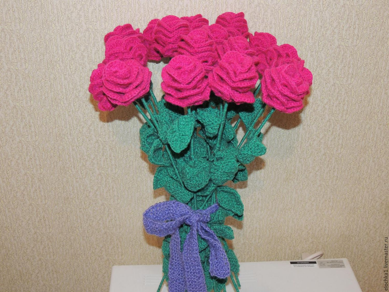 Вязаные цветы крючком фото схемы в букет