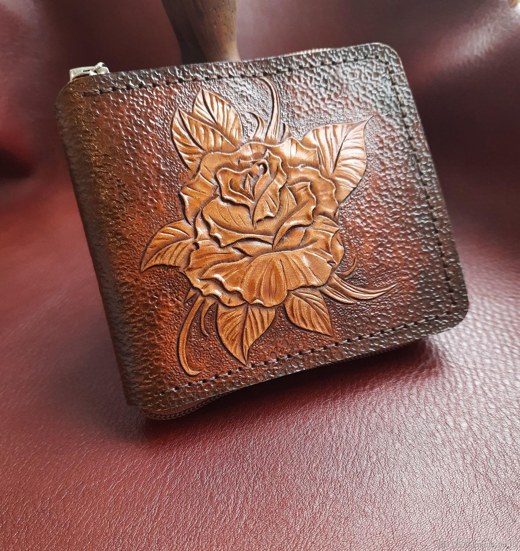 Кожаный кошелек с тиснением розы, Кошельки, Ижевск,  Фото №1