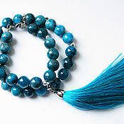 Браслет из бусин ручной работы. Ярмарка Мастеров - ручная работа Браслет из голубого агата с кистью. Handmade.
