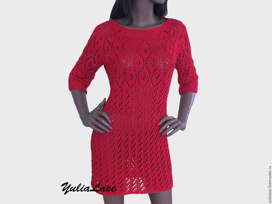 Платья ручной работы. Ярмарка Мастеров - ручная работа. Купить Платье -туника ярко-красного цвета. Handmade. Ярко-красный