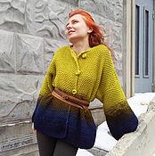 Одежда ручной работы. Ярмарка Мастеров - ручная работа Вязаный короткий кардиган 4 сине-зеленый. Handmade.