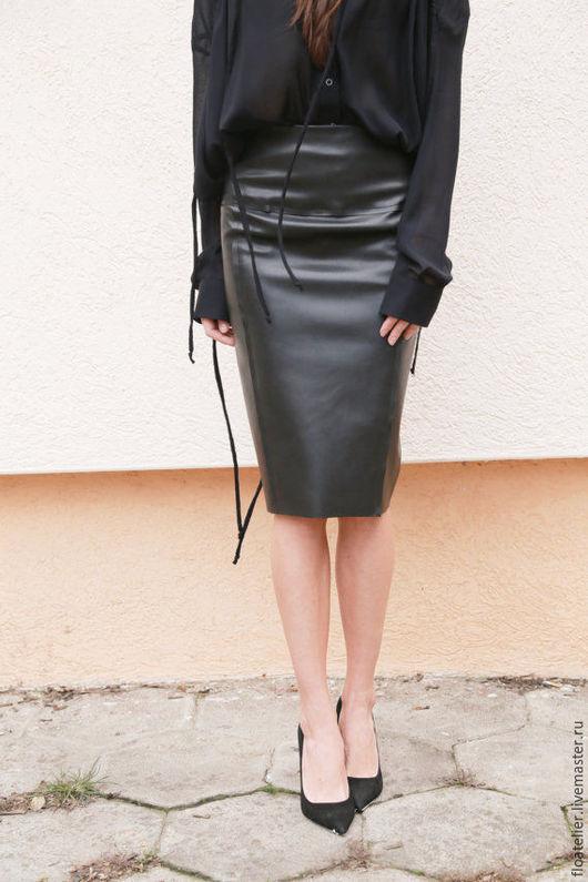 Юбки ручной работы. Ярмарка Мастеров - ручная работа. Купить Koжаная юбка/Женская экстравагантная юбка/F1571. Handmade. Черный, женская юбка