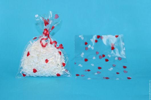 """Упаковка ручной работы. Ярмарка Мастеров - ручная работа. Купить Пакет упаковочный прозрачный """"Сердечки"""" 10 х 20. Handmade."""