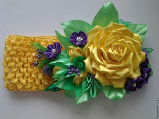 Повязка на голову `Желтые розы`. Цена 350 руб. Для примера.