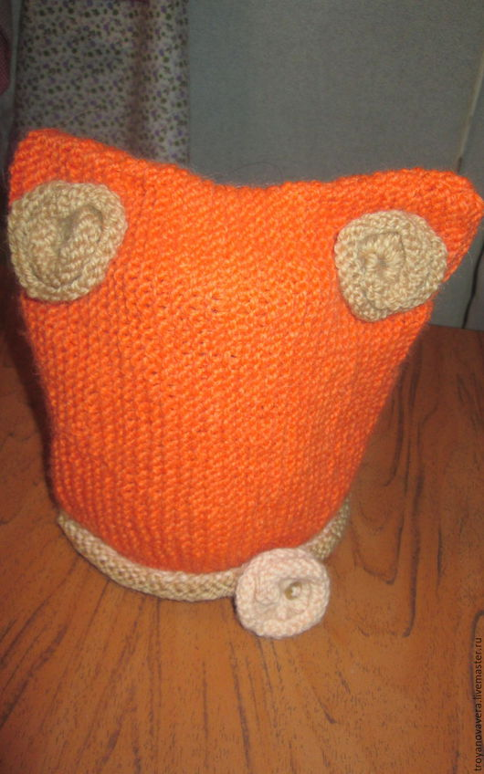 Шапки и шарфы ручной работы. Ярмарка Мастеров - ручная работа. Купить Котошапка и снуд для очень юной леди.. Handmade. Оранжевый