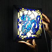 Для дома и интерьера ручной работы. Ярмарка Мастеров - ручная работа Витражный светильник бра ночник Синий Дракон. Handmade.