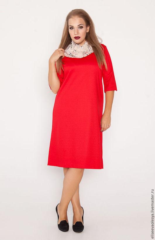 Платья ручной работы. Ярмарка Мастеров - ручная работа. Купить Свободное платье с шифоновым снудом  28001-1. Handmade.