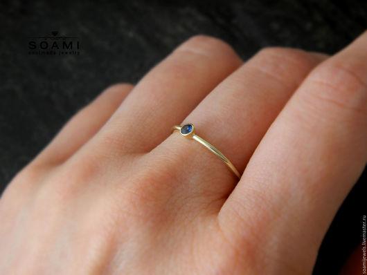 Кольца ручной работы. Ярмарка Мастеров - ручная работа. Купить Кольцо с сапфиром, желтое золото 585 пробы. Handmade.
