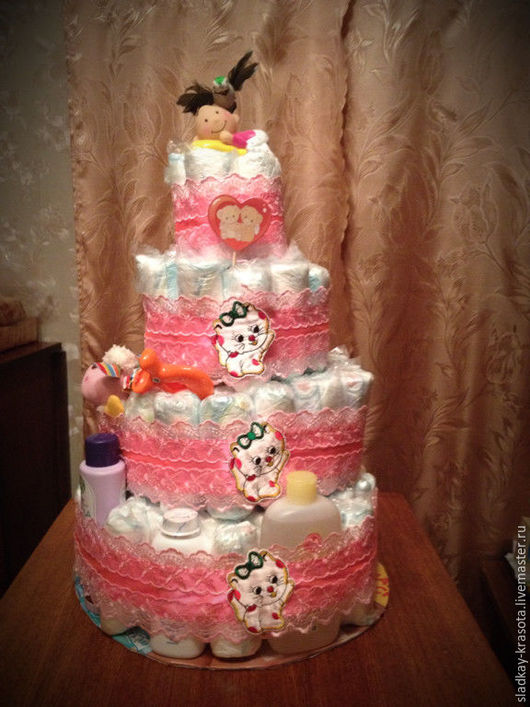 """Персональные подарки ручной работы. Ярмарка Мастеров - ручная работа. Купить Торт из памперсов """"Принцесса"""". Handmade. Розовый, подарок, новорожденному"""