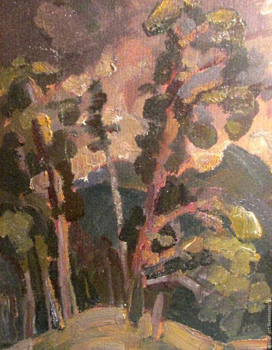 `Гроза в горах` - живописный этюд с натуры; картон, масло.