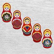 Материалы для творчества handmade. Livemaster - original item Applique Russian Matryoshka Embroidered stripe 8х4cm Patch. Handmade.