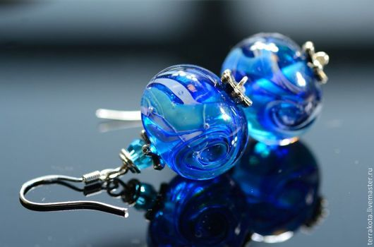 """Серьги ручной работы. Ярмарка Мастеров - ручная работа. Купить Серьги """"Глубокое синее море"""" серебро. Handmade. Серьги"""