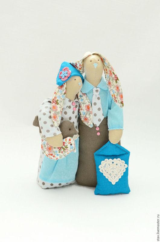 Куклы Тильды ручной работы. Ярмарка Мастеров - ручная работа. Купить Зайцы неразлучники тильды бирюза голубой коричневый свадьба. Handmade.