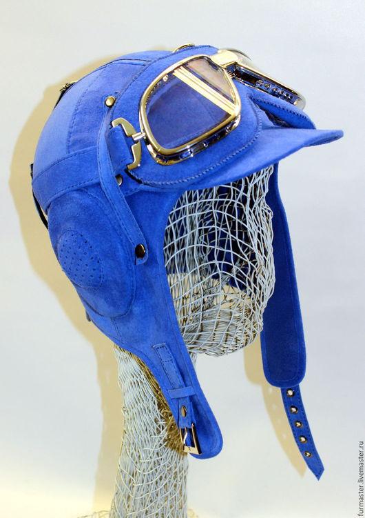 """Шапки ручной работы. Ярмарка Мастеров - ручная работа. Купить Шлем """"АВИАТОР"""". Handmade. Синий, летный, флис"""