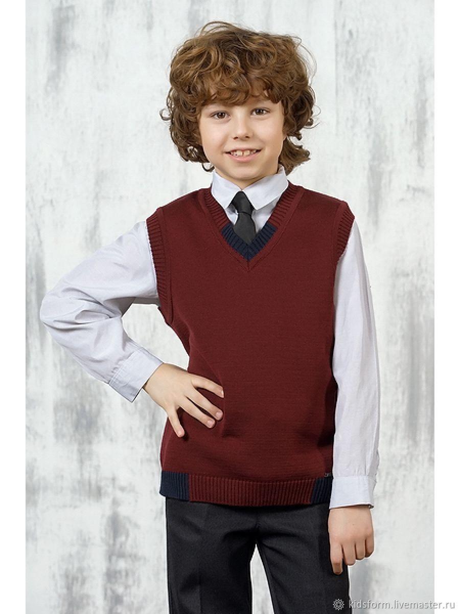 Одежда для мальчиков, ручной работы. Ярмарка Мастеров - ручная работа. Купить Бордовый хлопковый жилет для мальчика. Handmade. Школьный жилет