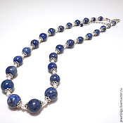 Украшения handmade. Livemaster - original item Beads with lapis lazuli and pearls
