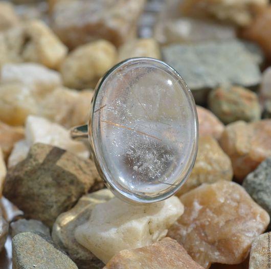 Кольца ручной работы. Ярмарка Мастеров - ручная работа. Купить Кольцо с золотым рутилом в кварце, серебро. Handmade. Драгоценные камни