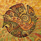 """Картины и панно ручной работы. Ярмарка Мастеров - ручная работа Картина"""" Рыба"""" масло,холст. Handmade."""