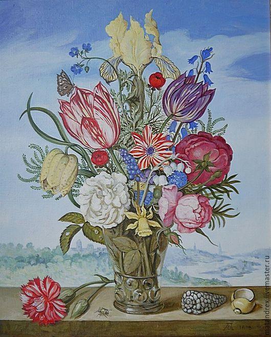Натюрморт ручной работы. Ярмарка Мастеров - ручная работа. Купить Натюрморт с цветами на фоне пейзажа. Handmade. Голубой, натюрморт