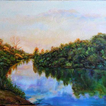 Картины и панно. Ярмарка Мастеров - ручная работа Тишина...Рассвет. Пейзаж с рекой. Пейзаж утро.. Handmade.