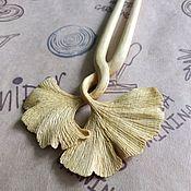 "Украшения handmade. Livemaster - original item Hairpin ""Ginkgo Leaf"" from Dalbergia wood. Handmade."