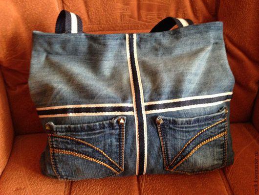Женские сумки ручной работы. Ярмарка Мастеров - ручная работа. Купить Джинсовая сумка немного  трапецевидная:). Handmade. Тёмно-синий