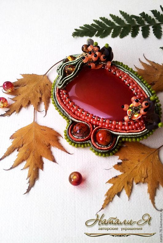 """Броши ручной работы. Ярмарка Мастеров - ручная работа. Купить Брошь сутажная """"Просто Осень"""". Handmade. Рыжий, брошь"""