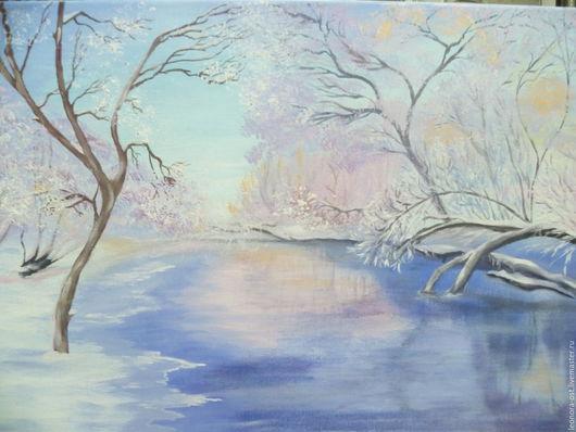 Пейзаж ручной работы. Ярмарка Мастеров - ручная работа. Купить Хрустальная зима. Handmade. Голубой, зимний пейзаж, зима, лед