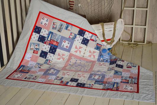 """Текстиль, ковры ручной работы. Ярмарка Мастеров - ручная работа. Купить """"Морские каникулы"""" лоскутное покрывало. Handmade. Морской, штурвал"""