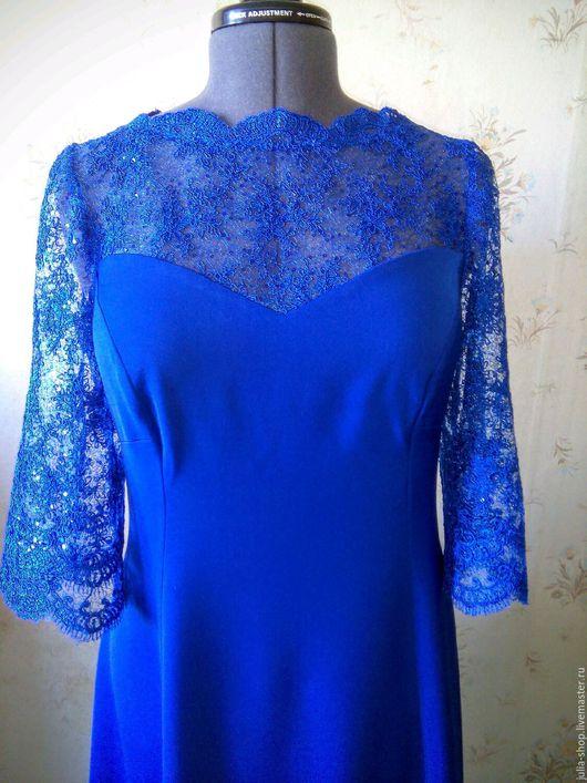 """Платья ручной работы. Ярмарка Мастеров - ручная работа. Купить Вечернее платье с кружевом """" Синее"""". Handmade. Платье"""