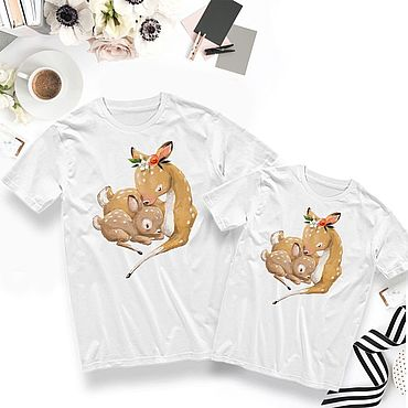 Одежда ручной работы. Ярмарка Мастеров - ручная работа Парные принты на футболках для матери и ребенка. Handmade.