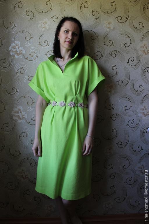 Платья ручной работы. Ярмарка Мастеров - ручная работа. Купить Платье из льна. Handmade. Ярко-зелёный