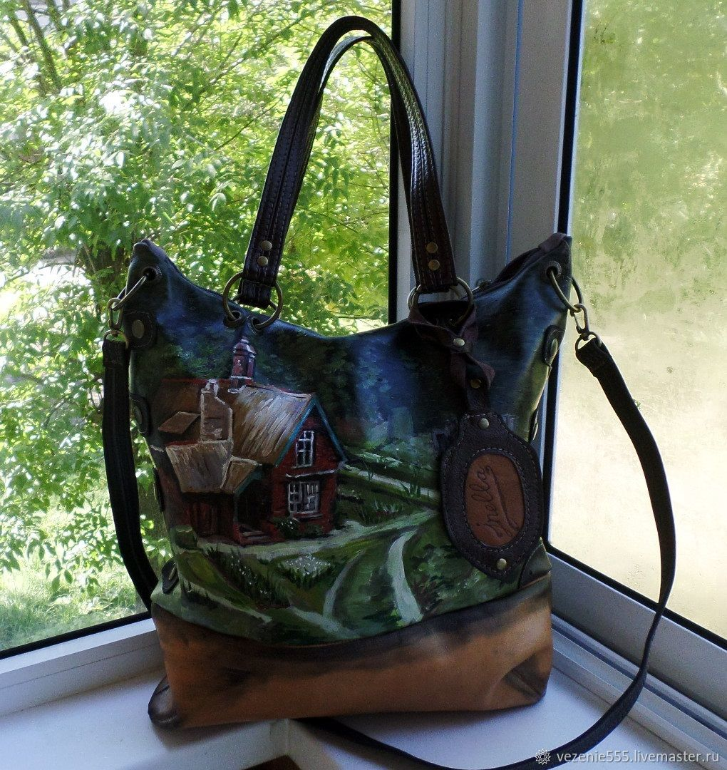 Leather women's bag with hand-painted to order for Elena), Classic Bag, Noginsk,  Фото №1