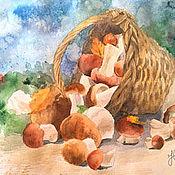 """Картины и панно ручной работы. Ярмарка Мастеров - ручная работа Акварель """"Лесные грибы"""". Handmade."""