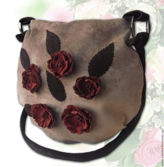 замшевая сумка, сумка с цветами, сумка с аппликацией, сумка с декором, бежевая сумка, сумка мешок, сумка из кожи, сумка через плечо