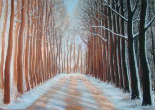 Пейзаж ручной работы. Ярмарка Мастеров - ручная работа. Купить Пейзаж пастелью. Handmade. Пейзаж, пастель, зима, деревья