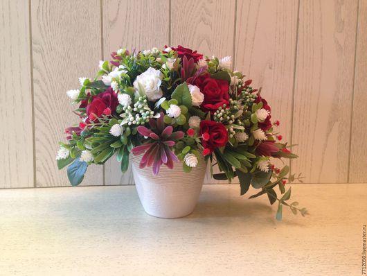 интерьерная композиция Маргарет красно-белая композиция подарок на любой случай подарок для интерьера бело-красный букет в кашпо настольная композиция